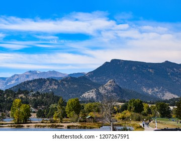 Old Man Mountain juts up just past Lake Estes in Colorado
