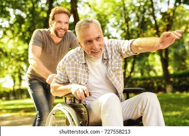 The old man on a wheelchair and his adult son are walking in the park. A man is carrying his father, they are having fun and they are laughing