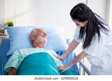 a old man or patient or elder sleeping on bed in hospital with doctor or nurse to take care and holding hands as health caring - Shutterstock ID 1290050524