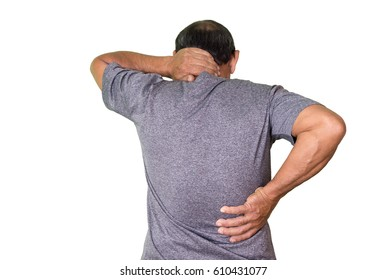Old man with a persistent pain on his back and neck isolated on white