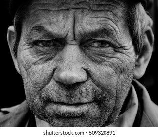 Old man portrait. Black and white photo