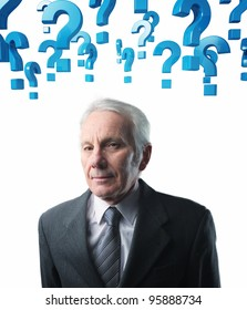 old man portrait and blue question mark background