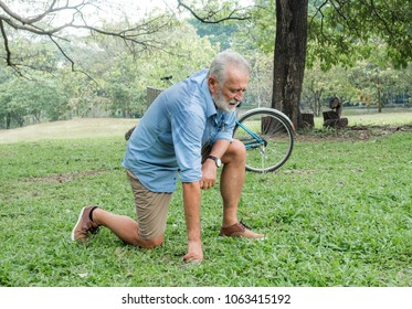 old man with problem in the park.