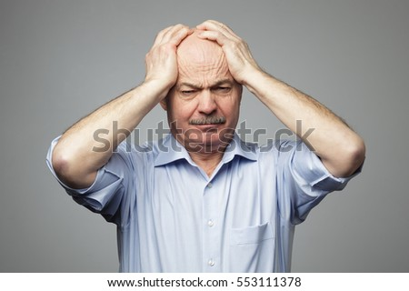 4e61f96197c Old Man Put His Head His Stock Photo (Edit Now) 553111378 - Shutterstock