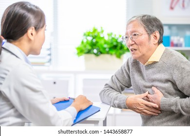 Old man see the female doctor due to heart disease and hypertension