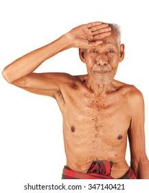 old man sick ,headache  hand to forehead