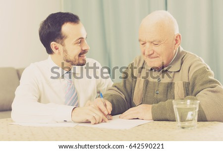 old man signing agreement papers social stock photo edit now