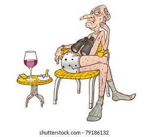 An old man sits in a chair with binoculars