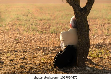 Old man sitting alone on a stump near the lake or man is sitting against a tree in the grass, looking like he is dreaming awake. He is relaxing, enjoying the shadow of the tree in a sunny day.