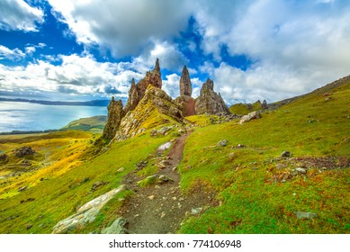 Old Man of Storr, large pinnacle of rock on top of a north hill in the isle of Skye, Highlands in Scotland, United Kingdom. The Old Man of Storr is one of the most photographed wonders in the world.