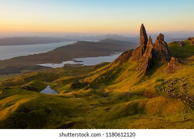 The Old Man Of Storr on the Isle of Skye with first light hitting the pinnacles.
