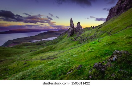 Old Man of Storr photographed after sunset.Famous rock formation landmark and tourists attraction on Isle of Skye, Scotland.Majestic landscape scene.