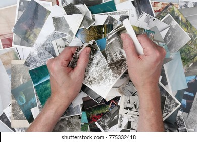 The old man is tearing the old photographs into small pieces to forget the past lived life. Memory concept studio shot