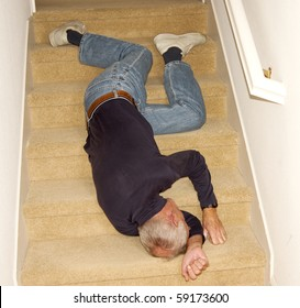 Old man unconscious after falling downstairs
