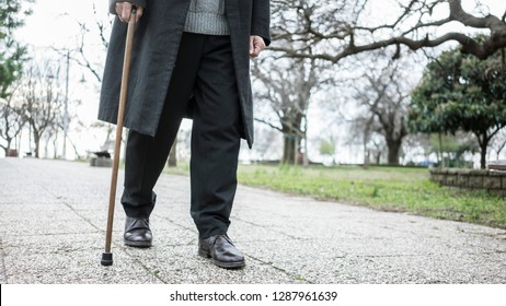 Old man walking in the park