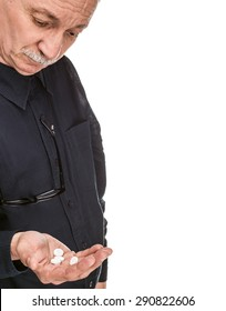 Old man wants to take a pill isolated on white background with copy-space