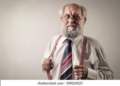 Old man wearing suspenders