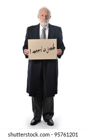 """an old man who keeps a paper sign """"I need a job"""""""