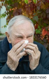 old man wipes his tears with a handkerchief. Upset distressed sick old gray-haired man close-up - Shutterstock ID 1833176560