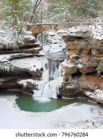 Old Man's Cave Upper Falls at Hocking Hills State Park, Ohio in winter