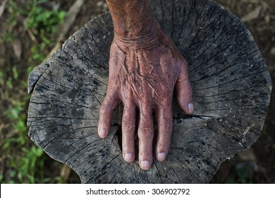 The old man's hand on the wooden floor.