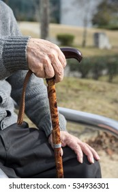Old man's hand wearing a cane with a park bench
