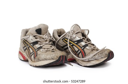old man's jogging shoes isolated on white