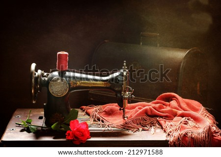 Old Manual Sewingmachine Bright Red Rose Stock Photo Edit Now Unique Rose Sewing Machine