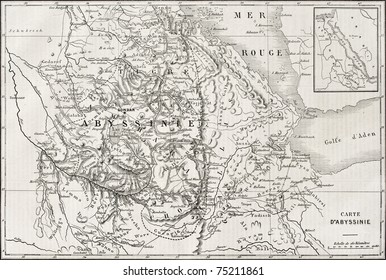 Old map of Abyssinia with Red Sea region map insert.  Created by Kautx and Gillot, published on L'Illustration, Journal Universel, Paris, 1868