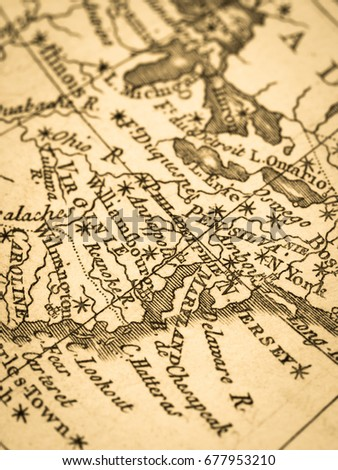 Old Map America East Coast Stock Photo (Edit Now) 677953210 ...