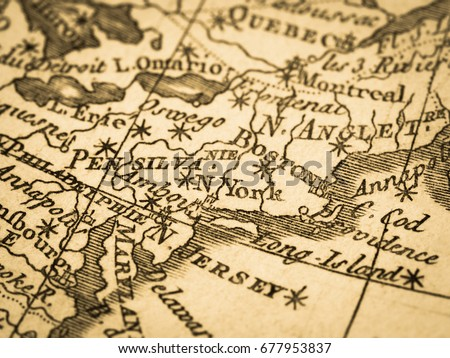 Old Map America East Coast Stock Photo (Edit Now) 677953837 ...