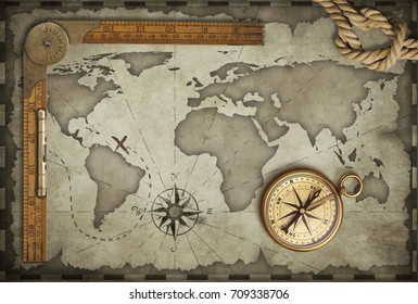 Old map background with compass, rope and ruler. Adventure and travel concept. 3d illustration.