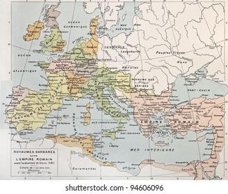 Old map of Barbarian kingdoms before Clovis I. By Paul Vidal de Lablache, Atlas Classique, Librerie Colin, Paris, 1894