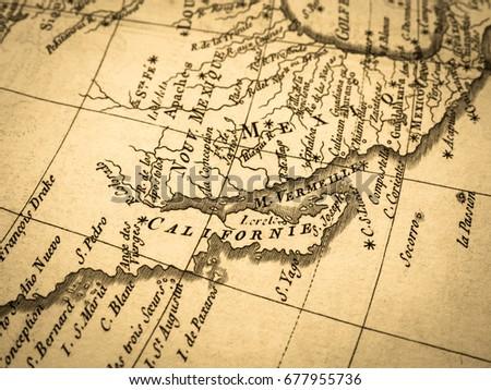 Old Map California Peninsula Mexico Stockfoto (Jetzt bearbeiten ...