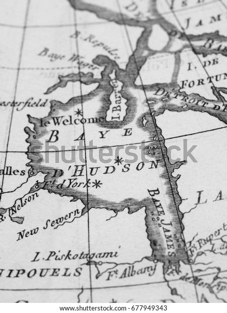Old Map Canada Hudson Bay Stock Photo (Edit Now) 677949343