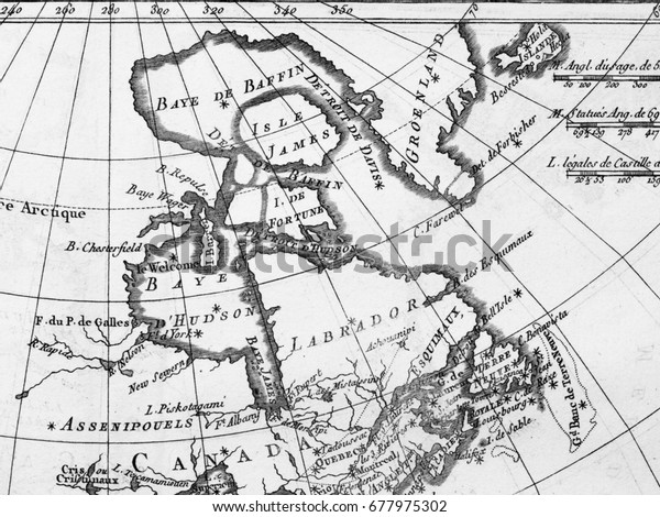Old Map Canada Hudson Bay Stock Photo (Edit Now) 677975302