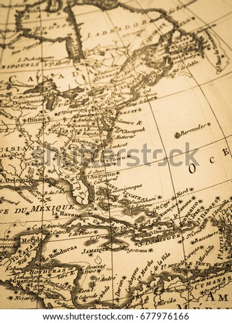 Old Map Caribbean Central America Stockfoto (Jetzt bearbeiten ...