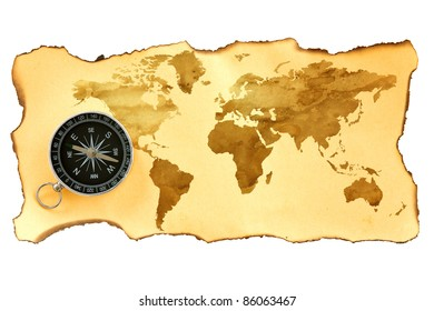 Old map with compass isolated on white background