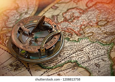 Old map, compass , navigation and geography .