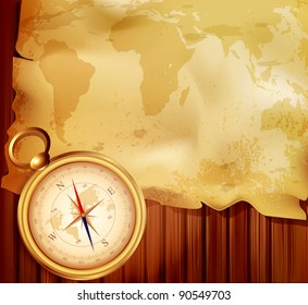 old map with a compass on a wooden background (JPEG version)