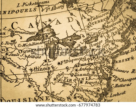 Old Map East Coast America Stock Photo (Edit Now) 677974783 ...