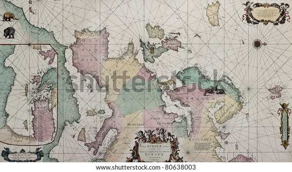 Old Map Europe Eastern Mediterranean Insert Stock Photo ...
