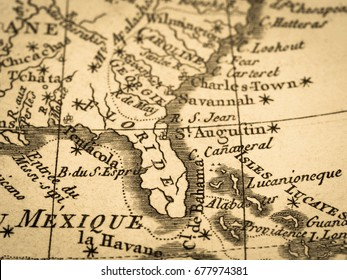 Old Map Florida Peninsula in America