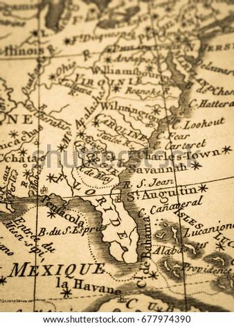 Old Map Florida Peninsula America Stockfoto (Jetzt bearbeiten ... Old Maps Of Florida on