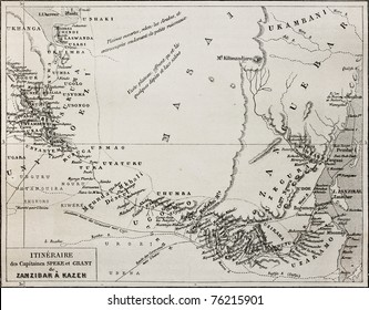 Old map of Grant and Speke explorers from Zanzibar to Kazeh (nowadays Tabora), Tanzania. By unidentified author, published on Le Tour du Monde, Paris, 1864