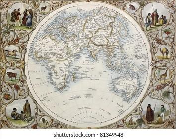 Old map of Hemisphere oriental. Created by John Tallis, published on Illustrated Atlas, London 1851