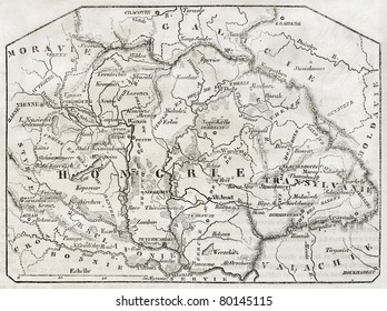 Old map of Hungary. By unidentified author, published on Magasin Pittoresque, Paris, 1850