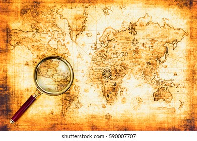 Old map with an magnifying glass explored it. Vintage travel background