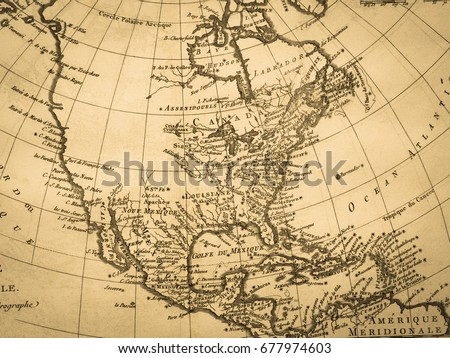 Old Map North American Continent Stock Photo Edit Now 677974603