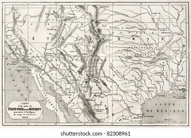 old map of northern mexico and south western usa created by erhard and bonaparte